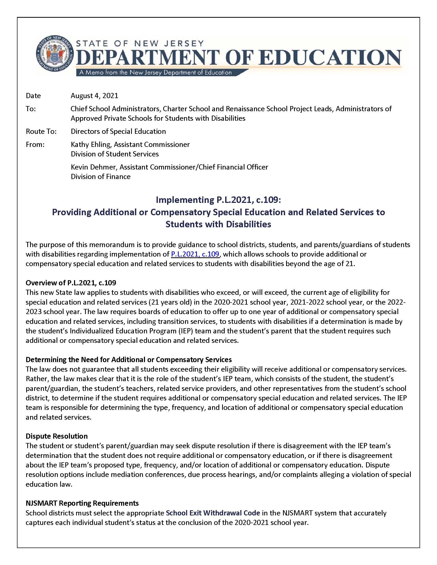 NJ DOE Guidance on Providing Additional Compensatory Special Education and Related Services to Students with Disabilities